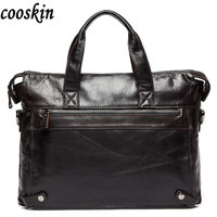 Europe Leather Handbag Briefcase Laptop Bag Business Casual Leather Crossbody Bag Shoulder Bag Fashion