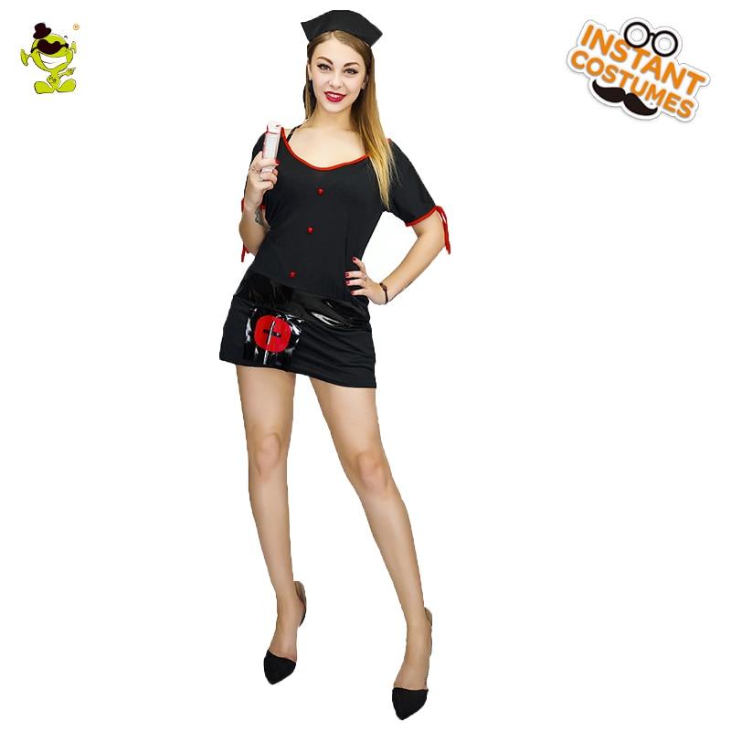 Black Sexy Dark Nurse Costumes Adult Women Halloween Party Horrible Nurse Uniform Fancy Dress