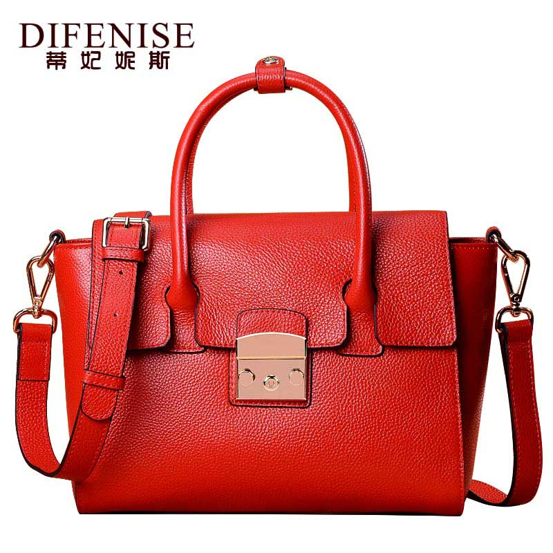 Difenise Luxury 100% Real Genuine Leather Women Designer Handbags Cowhide Women Shoulder Messenger Bag Elegant Totes Handbag