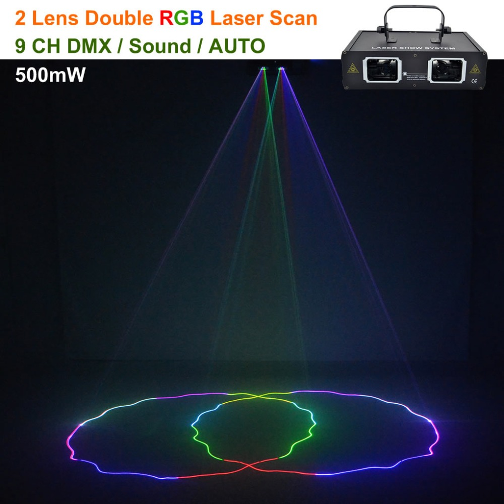 AUCD 2 Lens Scan Red Green Blue RGB Beam Pattern Laser Lights DMX 9CH PRO DJ Party Club Bar Holiday Wedding Show Stage Lighting aucd 2 lens red blue rb beam pattern laser light dmx 7ch pro dj party club bar ktv holiday wedding stage lighting dj 506rgb