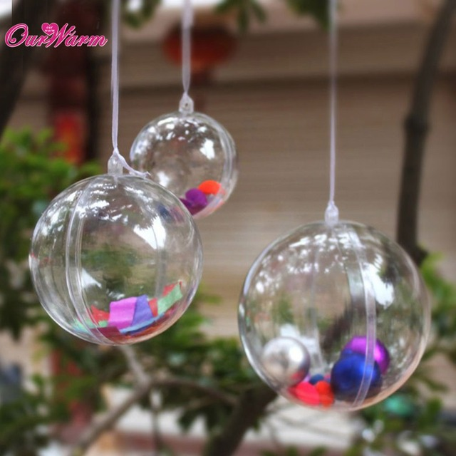 ourwarm 50pcs acrylic ball 4cm wedding gift bags wedding favors and gifts box christmas ball ornaments