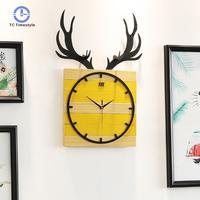 Nordic Clock Creative Deer Head Wall Clocks Living Room Simple Fashion European Style Decorative Quartz Watches