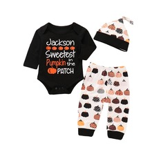 Emotion Moms Cute Cotton Newborn Baby Boy Halloween Tops Romper Pants Hat Outfits Set Clothes