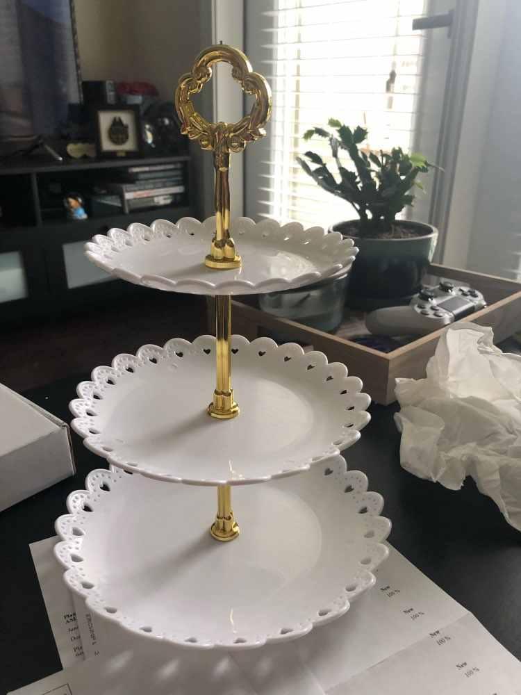 Soporte de platos para pasteles multiestilo 2/3 niveles, soporte de asa para platos, herramienta de barra, soporte de platos para pasteles, bodas, fiestas de cumpleaños, sin bandeja