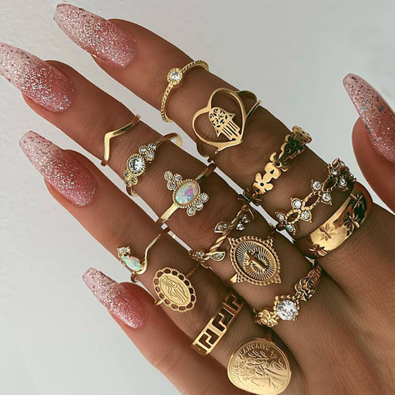 9 Design Boho Vintage Gold Star Midi Moon Rings Set For Women Opal Crystal Midi Finger Ring 2019 Female Bohemian Jewelry Gifts 1