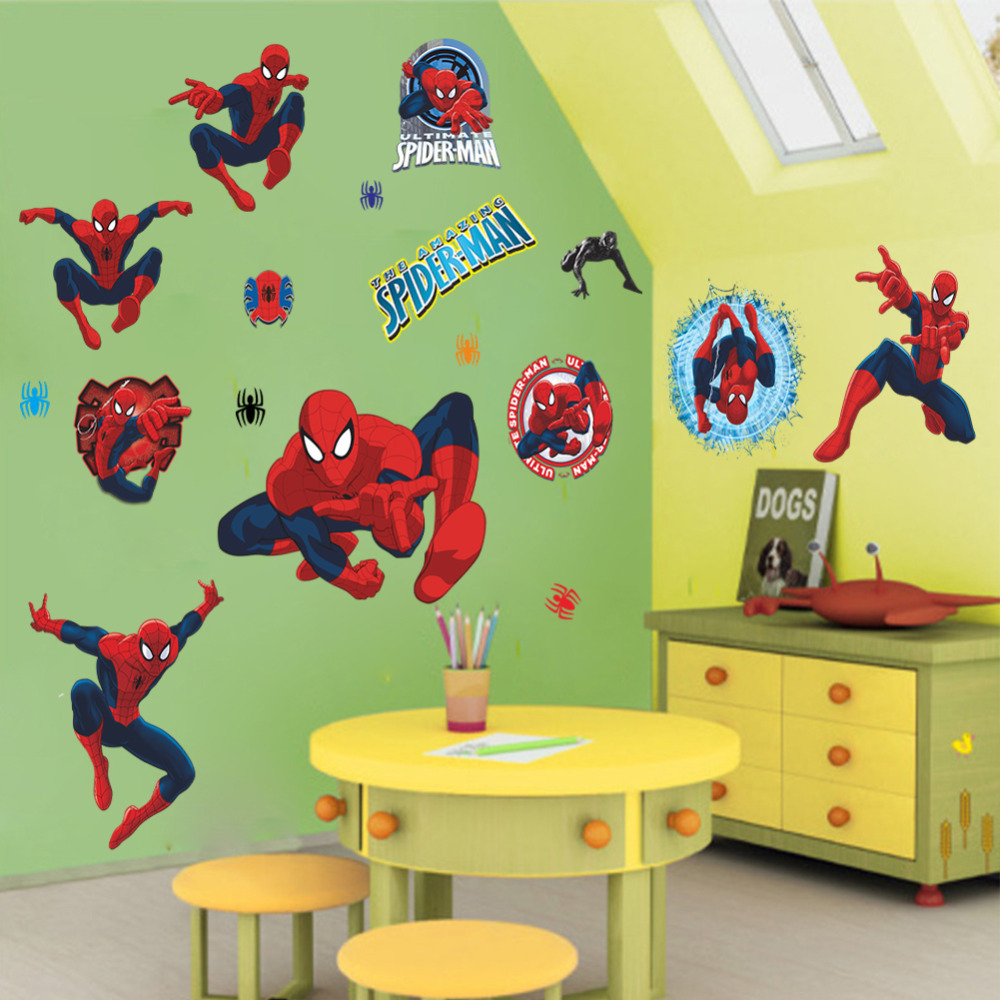 buy 3d cartoon spiderman wall stickers for kids rooms wall decals home decor. Black Bedroom Furniture Sets. Home Design Ideas