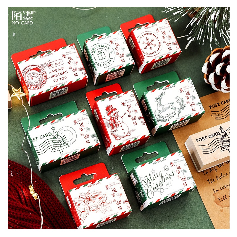 New Christmas Tree Snowman Wooden Rubber Stamp DIY Scrapbooking Craft Wax Seal Stamp Kawaii Stationery