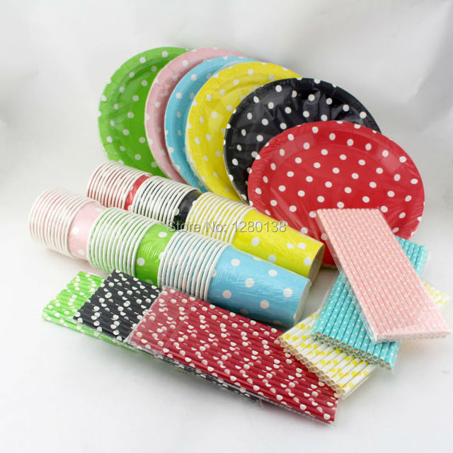 Tableware Polka Dot Paper Plates Cups Straws First Birthday Bachelorette Party Carnival Moments Pink Blue Green  sc 1 st  AliExpress.com & Tableware Polka Dot Paper Plates Cups Straws First Birthday ...