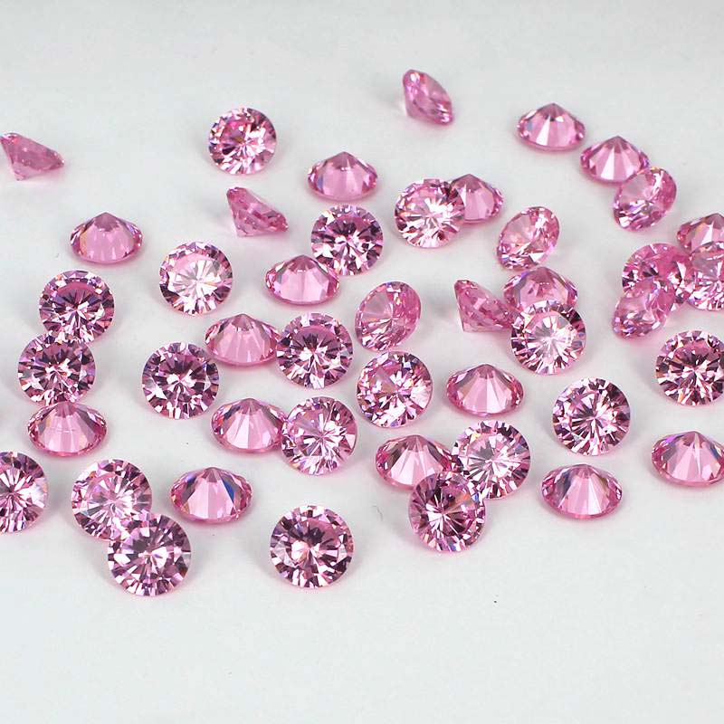 Light Pink Color Cubic Zirconia Stones Round Shape Design Supplies For Jewelry 3D Nails Art Clothes