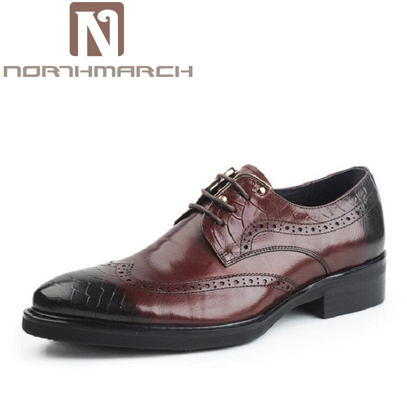 NORTHMARCH Genuine Leather Bullock Men Flats Shoes British Style Men Oxfords Brand Business Fashion Designer Dress Shoes For Men snake pattern men genuine leather shoes fashion men oxfords shoes increased british style goodster handmade men leather shoes