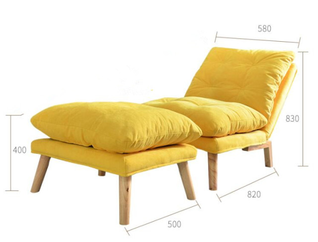 Small Modern Sofa Chair Chaise Lounge Recliner Tufted Floor Futon W Foot  Rest Living Room Bedroom