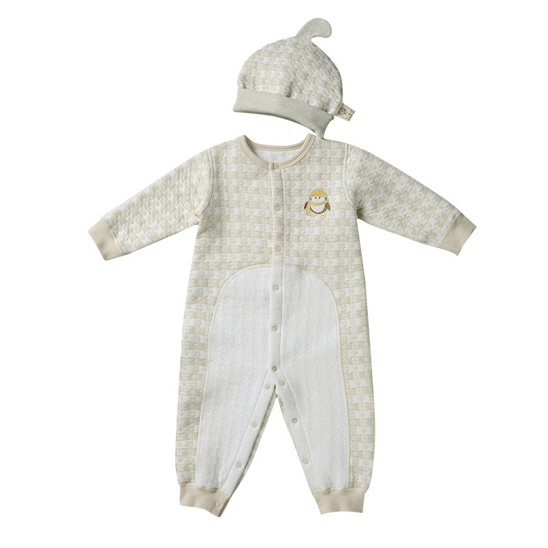 Infant Baby Girl Boy Autumn Winter Organic Cotton Long Sleeve Rompers with Hat Clothes N ...