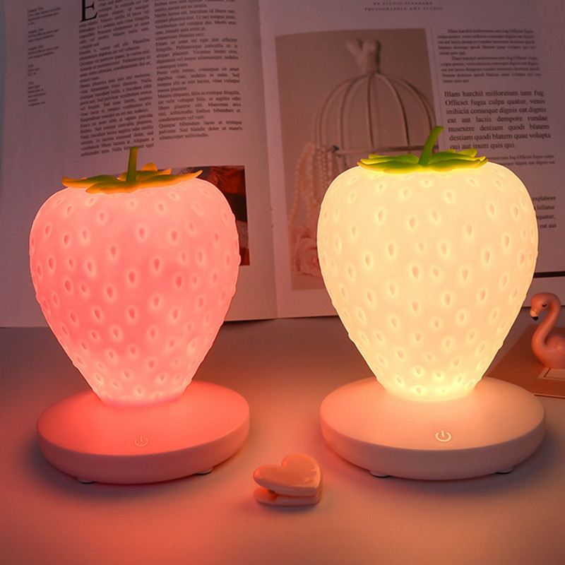 Touch Dimmable Led Night Light Lamp Silicon Strawberry for Baby Children Kids Gift Bedside Bedroom Living Room Decoration