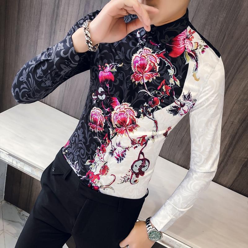 Rose Flower Shirt Men 2018 Autumn Men Long Sleeve Shirt Slim Fit Fancy Shirts Men Camisa Social Masculina Manga Longa Рубашка
