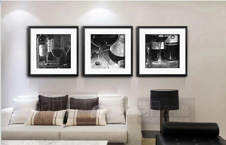 Blanco y negro del vidrio de vino sala de pintura decorativa moderna ...