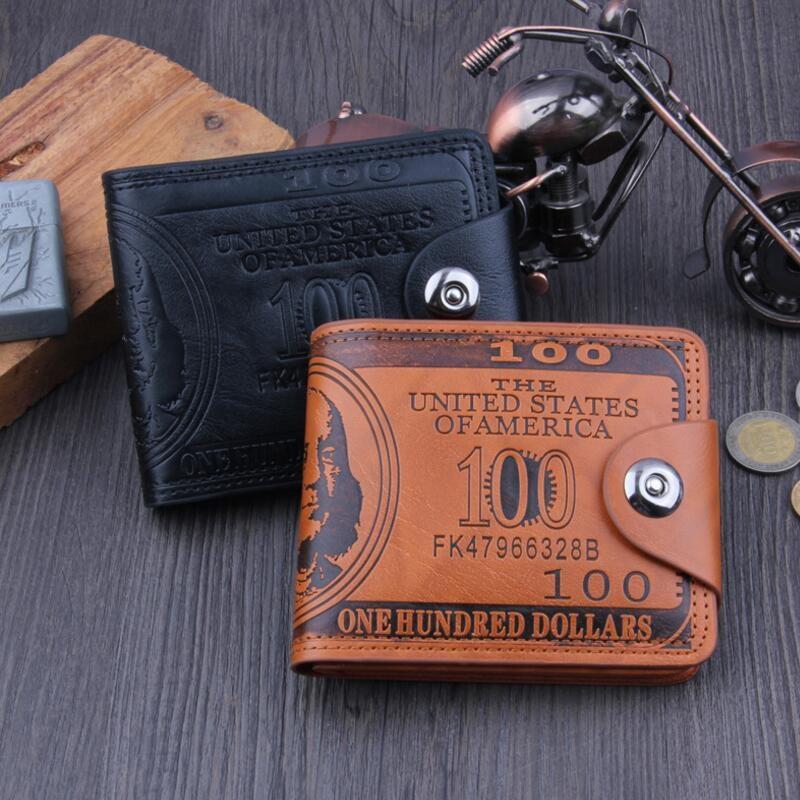 Men Casual Short Wallets Fashion Male ID Card Holder Coin Pocket Dollar Hasp Small Wallet PU Leather Purse Men Carteras Carteira