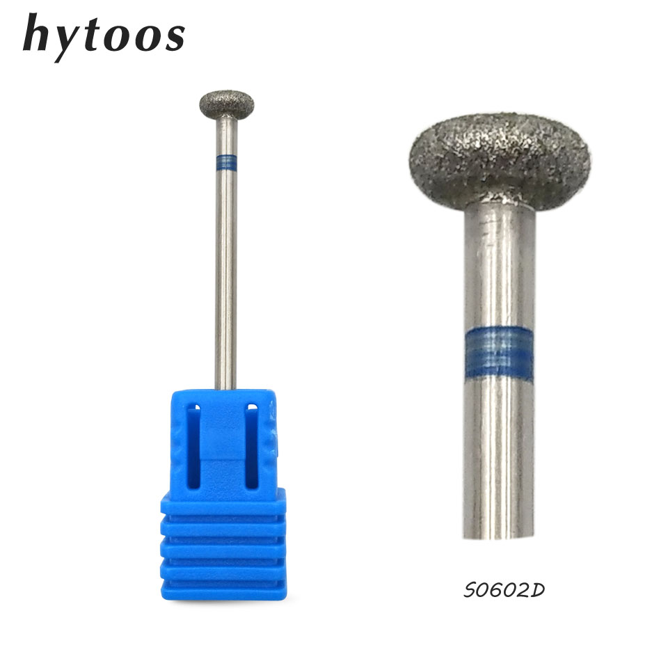 HYTOOS 6 2mm Flat Diamond Nail Drill Bit 3 32 Rotary Diamond Burr Manicure Bits Drill