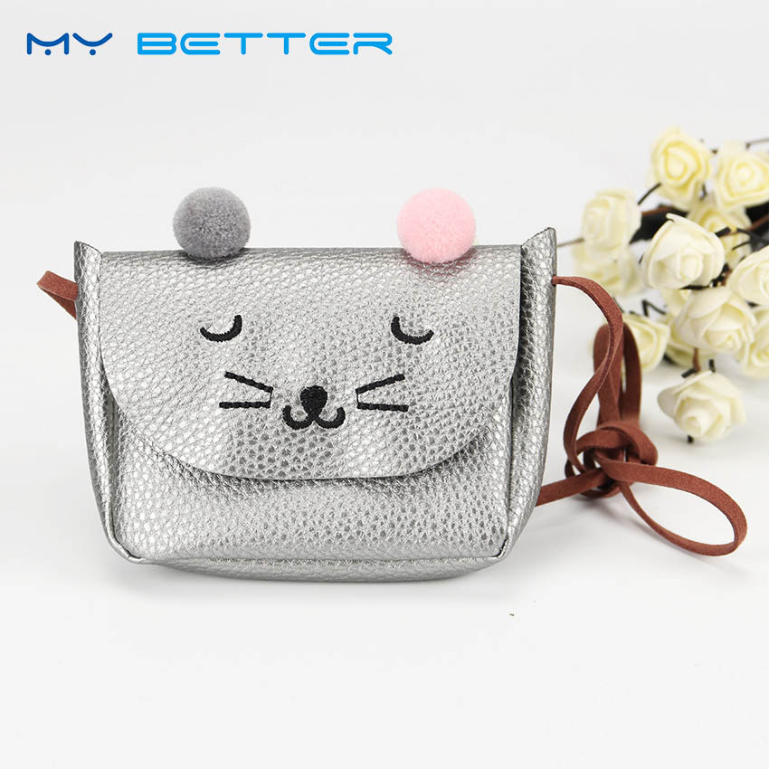 Lovely PU Leather Baby Shoulder Bag Cute Cat Ear Girls Messenger Bag Coin Purse for Kids Gift girls mini messenger bag cute plush cartoon kids baby small coin purses lovely baby children handbags kids shoulder bags bolsa