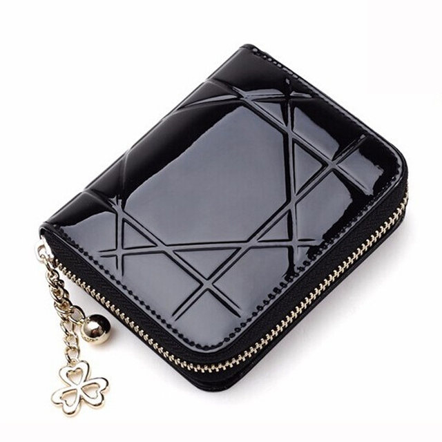 acfc7b408b85 Women Coin Purses Short Coin Bag Female Small Purse Patent Leather Clutch  Wallet Ladies Mini Purse Card Holders Porte Monnaie
