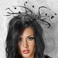 Elegante da Festa de Mulheres Blush Mini Chapéu Fascinator Nupcial Do Casamento Birdcage Veil Pena Preta Fixa Com Apertos de Cabelo Em Estoque 18056