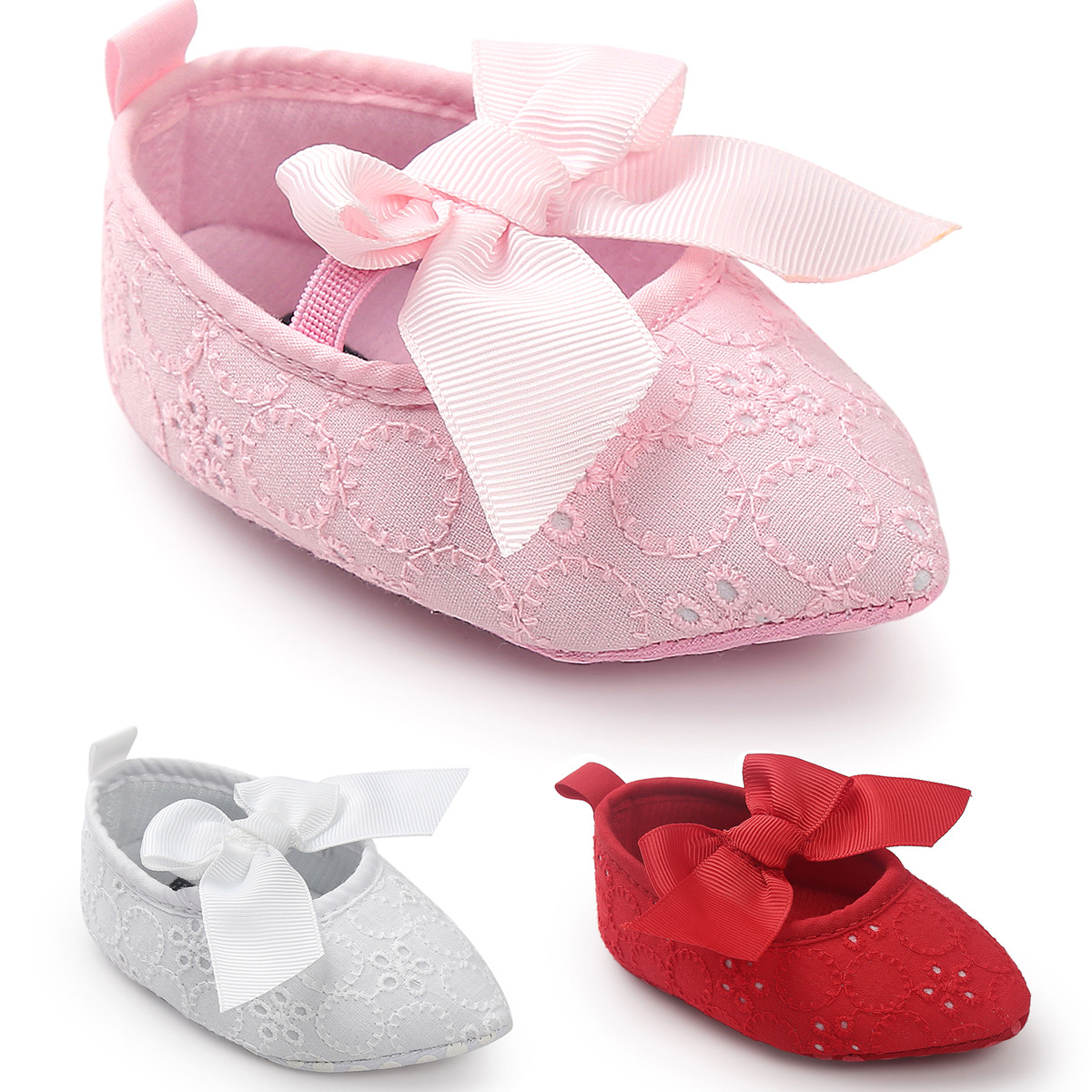 Fashion Lace Bows Princess Shoes Print Bow Girl Baby Shoes Toddler Shoes Soft Non-slip Newborn Shoes First Walker