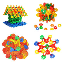 107pcs/lot Kid Baby Educational Toys Multicolor Snowflake Creative Building Blocks For Child DIY Assemblage Toy
