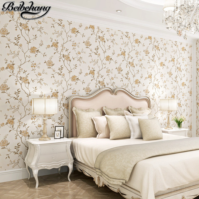 Beibehang Wallpaper European Style Idyllic Large Flower Stereo
