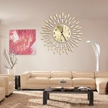 Sun Shaped Round Rhinestone Metal Clock Home
