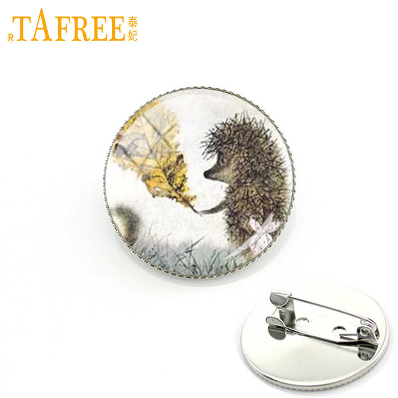 TAFREE Hedgehog In The Fog Brooch men women Pins for Handmade Fashion round Glass nacture cute animal style metal jewelry H238