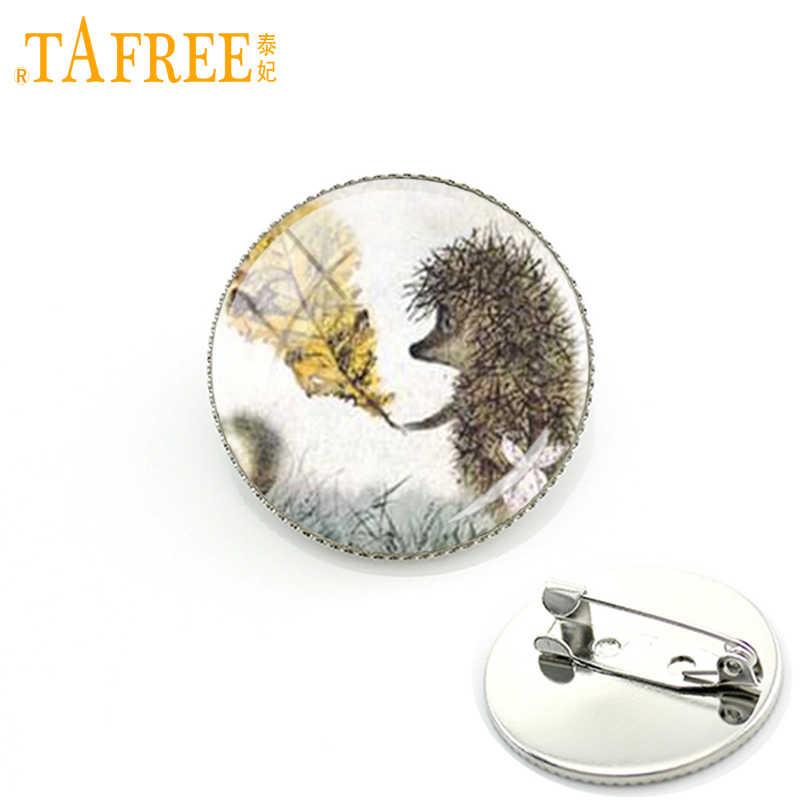 TAFREE Hedgehog en la niebla broche hombres mujeres alfileres para la moda hecha a mano cristal redondo nacture lindo animal estilo metal joyería H238