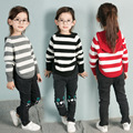 2016 new spring autumn Girls Kids Boys Striped hooded sweater coat  comfortable cute baby Clothes Children Clothing 20W