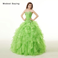 Elegant Apple Green Ball Gown Sweetheart Beaded Ruffled Quinceanera Dresses 2017 for Girls Party Prom Gowns vestido quinceanera