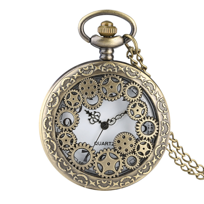 Watch Pocket  Unique Gear Design Shell Quartz Pocket Watch Analog Pendant For Boy Delicately Carved Gift For Pocket Watch