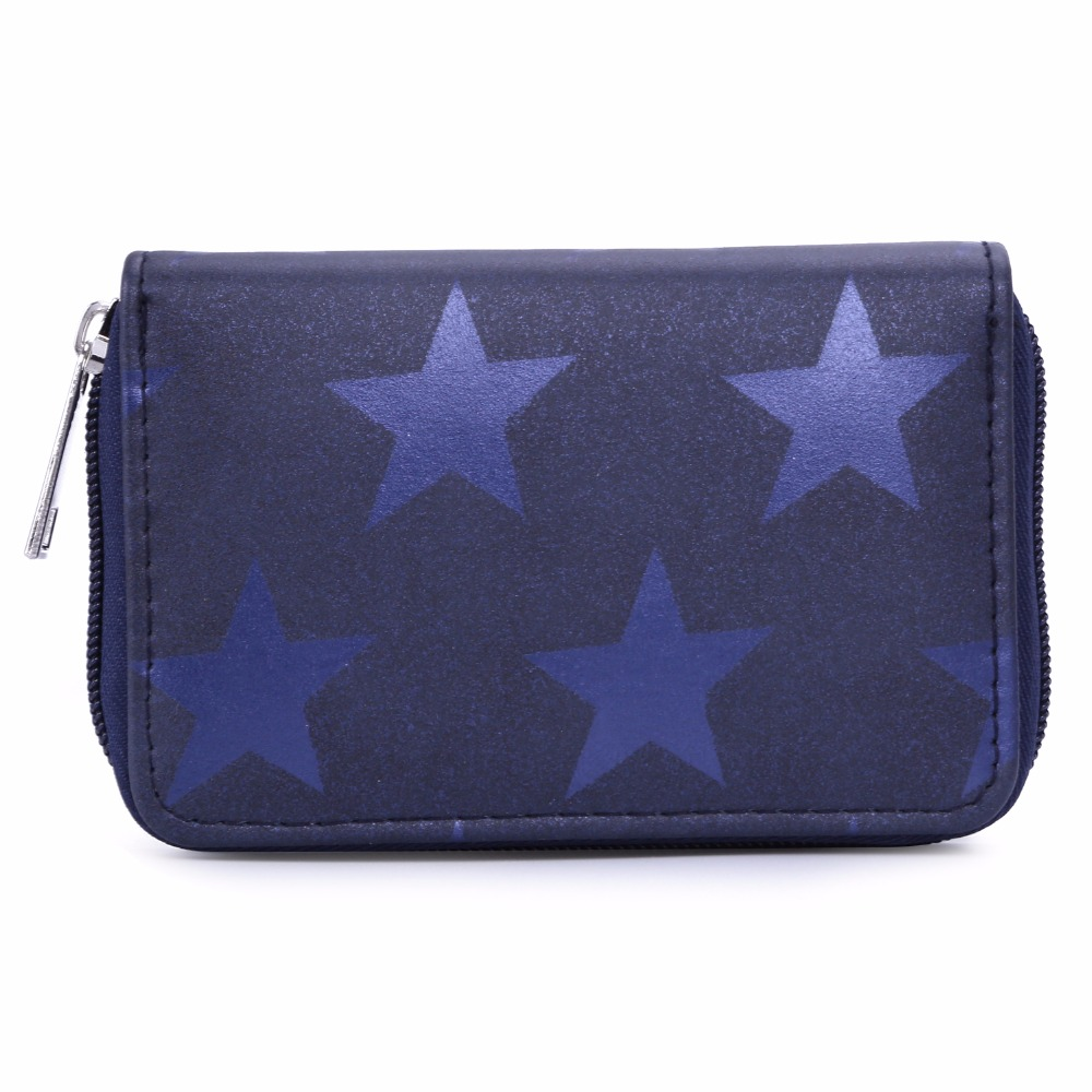 DAVIDJONES Women Wallets Small Coin Pocket 2018 Short Wallet Women Zipper Leather Clutch Bag Star Print Short Wallets Purse