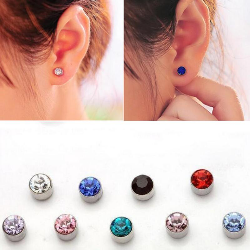 Unisex Fake Magnet Rhinestone Nose Ear Stud Lip Ring Plug Clip On