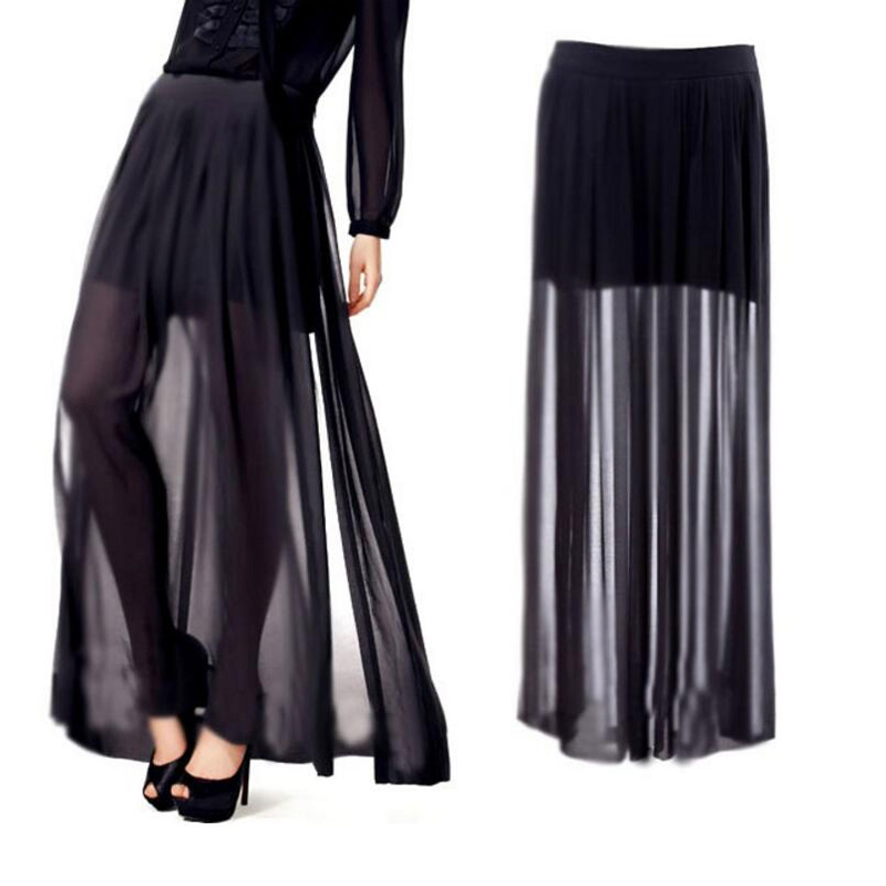 2018 Summer Fashion Sexy Transparent Chiffon Unilateral Open Skirt Black Casual Beach Skirt Elegant