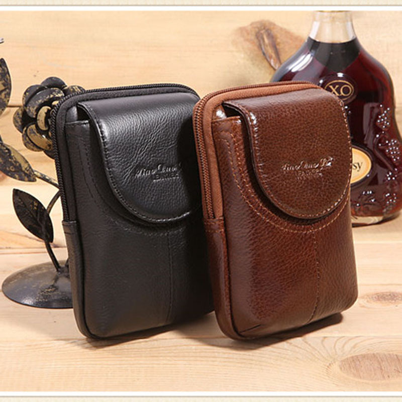 2018 New Men Genuine Leather Vintage Cell/Mobile Phone Cover Case skin Hip Belt Bum Purse Fanny Pack Waist Bag Pouch men vintage crazy horse genuine leather fanny waist pack bag mobile phone case coin purse belt hip bum messenger shoulder bags