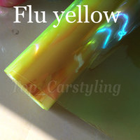 0.3x10m fluorescent yellow Headlight Tint Film Car Taillight Fog Vinyl NEOCHROME HeadlampTinting Foil Rainbow covering Vinyl
