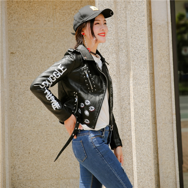 2019 Autumn Fashion Punk Style PU Leather Jacket Women Letters Pattern Slim Long Sleeve Spring Black Motorcycle Graffiti Jacket-in Jackets from Women's Clothing    3