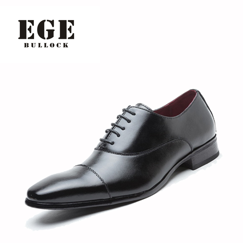 ФОТО EGE Brand Men Dress Shoes Handmade Genuine Leather Fashion Derby Wedding Shoes New top Quality Business Boss Shoes for Men