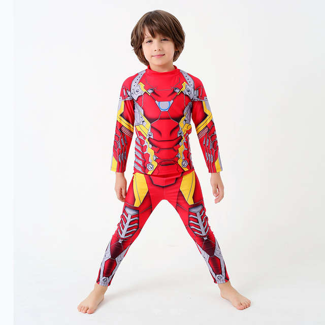 dd25c4efcd New Cartoon Two Piece Swimsuit Boys Swimwear with Long Sleeve Pants Child  Surfing Bathing Suit Kids Beach Red Blue Swim Wear