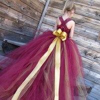 الأميرة بنات بالتواصل حفلة موسيقية مهرجان العروسة فستان الزفاف زهرة فتاة عقدة كبيرة توتو اللباس مع انفصال طويل الذيل