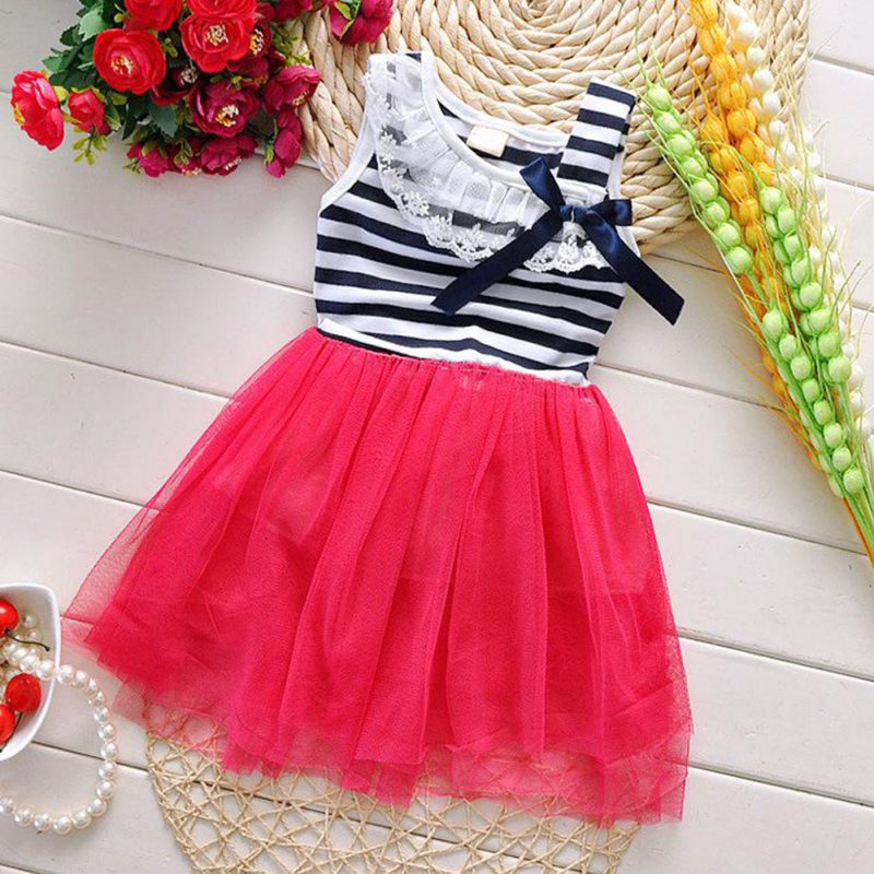 Summer Girl Dress Kids Girls Stripe Lace Tutu Dress Brace Bowknot Ruffle Tulle Baby One-piece Dresses 2-6Y