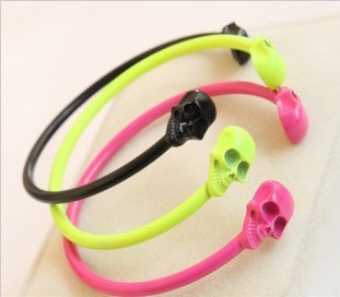 fashion accessories candy color neon color punk skull personalized bracelet