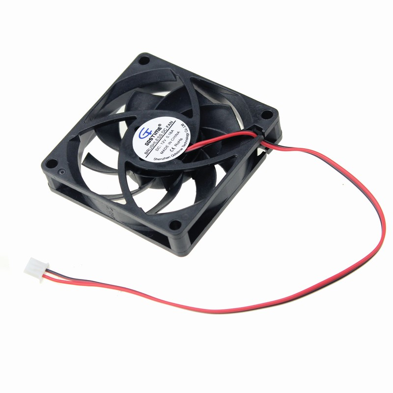 Gdstime 2 pcs 70mm 2Pin DC Fan 12V 70x70x15mm Brushless PC Cooling Fan Mute Computer Case CPU Cooler 2.75 inch 7cm gdstime 1 pcs cooling fan 40mm x 15mm 4cm 2 pin dc 4015 small brushless cooler fan 12v pc computer chip 40x40mm