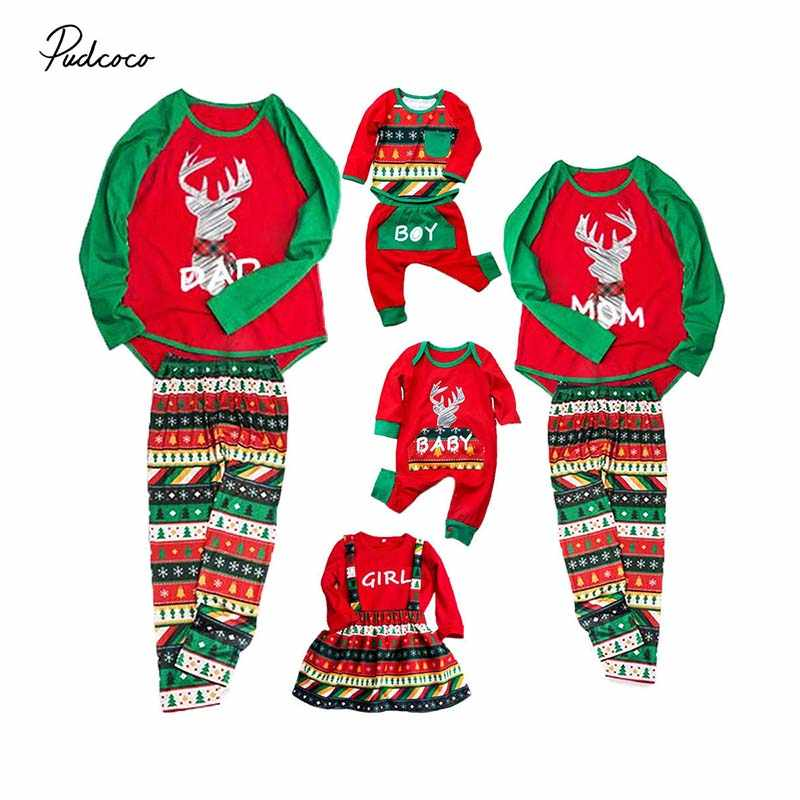 Pudcoco Christmas Family Matching Pyjamas Pajamas PJs Set Xmas Kids  Sleepwear Nightwear 2018 New Cartoon Elk 11459019a