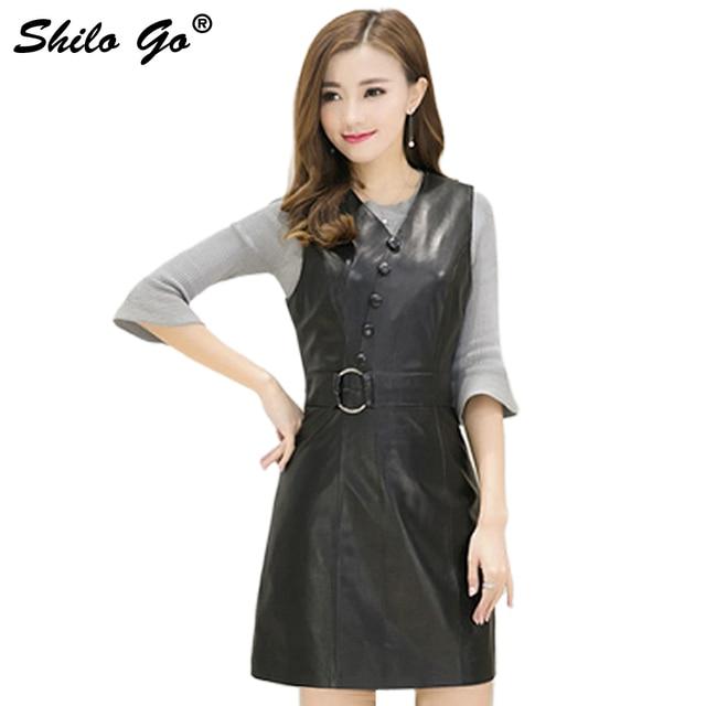 78aa51a53d7 Fashion Street Women's Formal Office V-Neck Single Breasted Metal Round  Belt Sleeveless Sheepskin Genuine Leather Dress