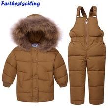 Children Winter Clothing set Boys Ski Suit Girl Down Jacket Coat + Bib Pants 2 pcs Jumpsuit Set Kids Clothes For Baby Boy Girl