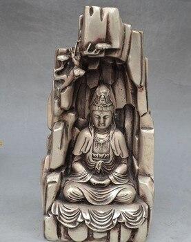 Chinese Tibetan silver Buddhist Joss Kwan-yin GuanYin Bodhisattva Goddess Statue