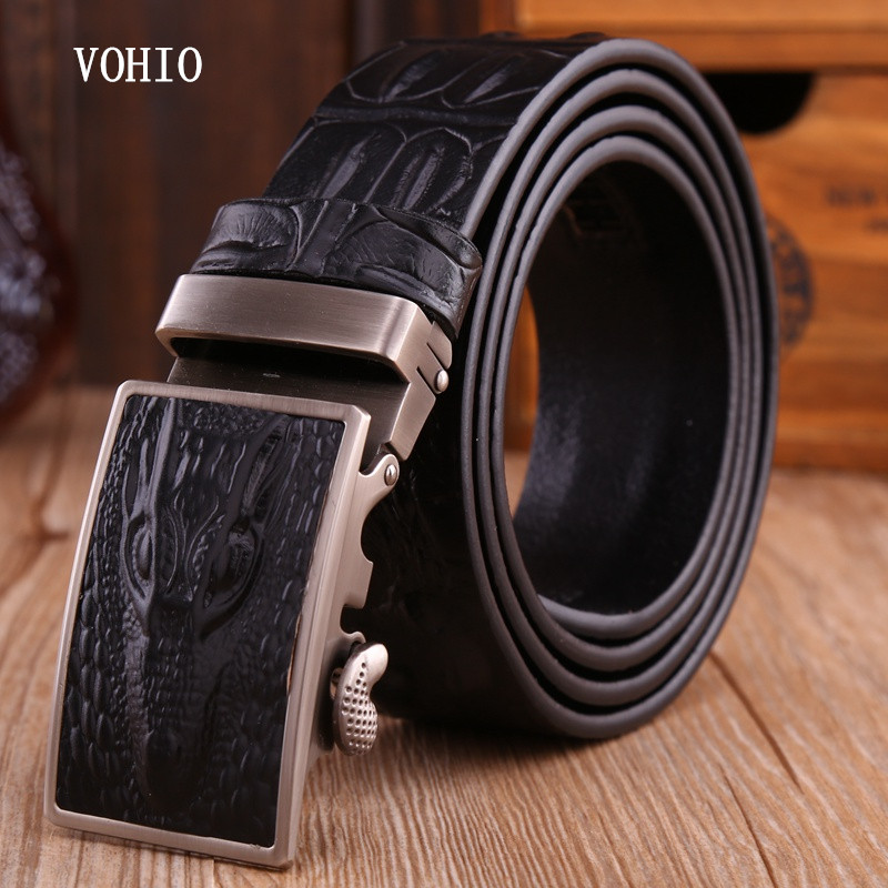VOHIO Men's Belts Luxury Man Strap 100%cow Real Leather Automatic Ratchet Crocodile New Designer Buckles Gifts For Male Jeans